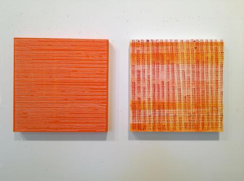 square orange drawings on panels by Stella Untalan