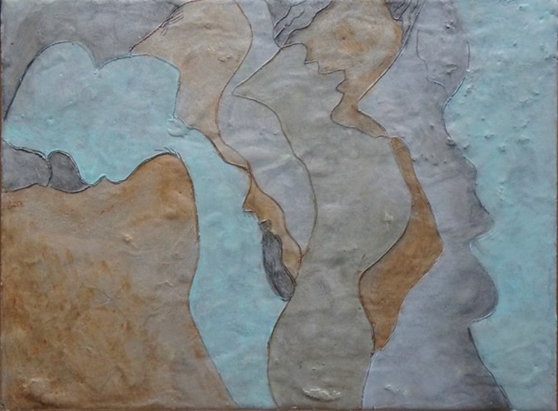 Kitty Caparella: Image: Sky Canyon, encaustic on wood: 1241 Carpenter