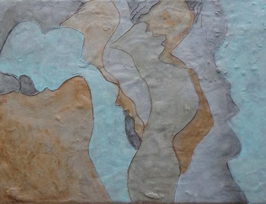Kitty Caparella: Image: Sky Canyon, encaustic on wood: 1241 Carpenter